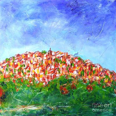Blue Abstract Painting - Roussillon Village by Cristina Stefan