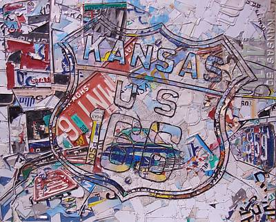 Route 66 Mixed Media - Kansas Route 166  Zip Line Type by Phil Jackson