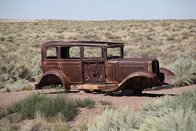 Photograph - Route 66 - Abandoned Car by Frank Romeo