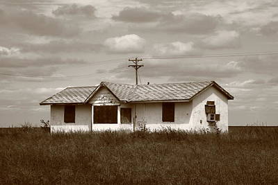 Sepia Vintage Farmhouse Photograph - Route 66 - Abandoned Farm House by Frank Romeo