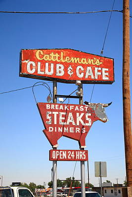 Route 66 - Cattleman's Club And Cafe Art Print