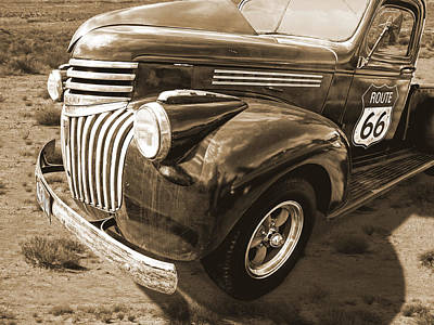 Route 66 Chevy 1941 In Sepia Art Print by Gill Billington