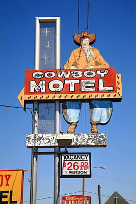 Mural Photograph - Route 66 - Cowboy Motel by Frank Romeo