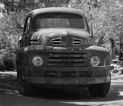 Photograph - Route 66 Ford Truck Black And White by Leticia Latocki