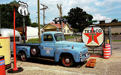 Route 66 - Gas Station With Watercolor Effect Art Print