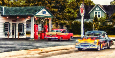 Route 66 Historic Texaco Gas Station Print by Thomas Woolworth