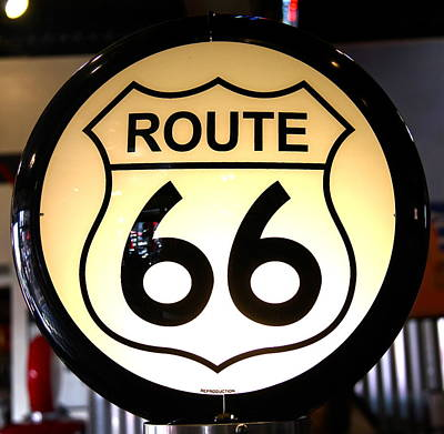 Photograph - Route 66 Lighted Sign by Denise Mazzocco