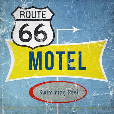 Wood Painting - Route 66 Motel by Linda Woods