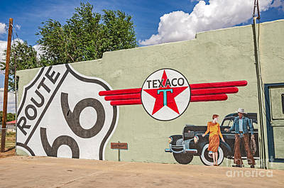 Photograph - Route 66 Mural With Texaco Sign by Sue Smith