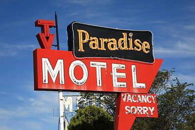Route 66 - Paradise Motel Art Print by Frank Romeo