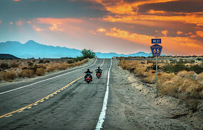 Photograph - Route 66 Riders by Sky Noir Photography By Bill Dickinson