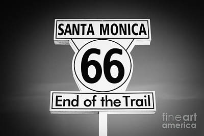 Route 66 Sign In Santa Monica In Black And White Art Print by Paul Velgos