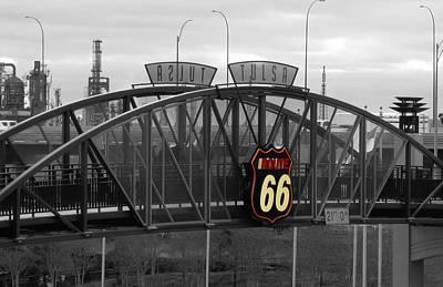 Route 66 Tulsa Sign Bw Splash Art Print by Tony Grider