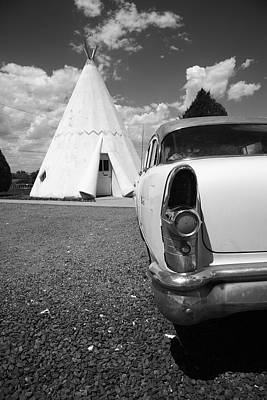 Photograph - Route 66 Wigwam Motel And Classic Car by Frank Romeo