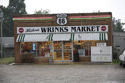 Route 66 - Wrink's Market Art Print by Frank Romeo