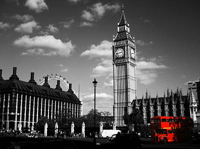 Routemaster Bus On Black And White Background Art Print