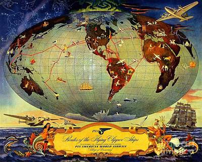 Routes Of The Flying Clipper Ships Art Print by Pg Reproductions