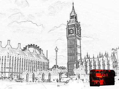 Photograph - Routmaster Bus And Big Ben by Chris Day