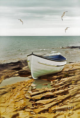 Row Boat On Rocky Shore Art Print