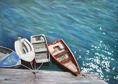 Print featuring the painting Row Boats At Dock by Sandra Nardone