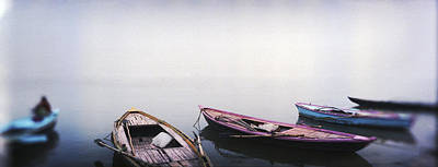 Row Boats In A River, Ganges River Art Print