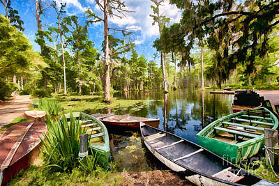 Row Boats In Cypress Tree Swamp II Art Print by Dan Carmichael