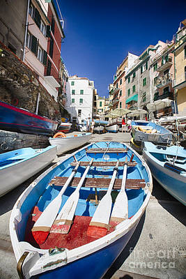 Row Boats Of Riomaggiore Print by George Oze