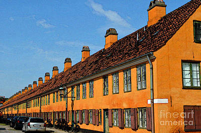 Digital Art - Row Houses In Copenhagen Denmark by Eva Kaufman