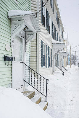 New Hampshire Photograph - Row Houses On A Snowy Day by Edward Fielding
