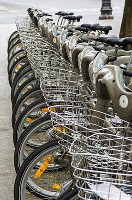 Urban Street Photograph - Row Of Bicycles by Carlos Caetano