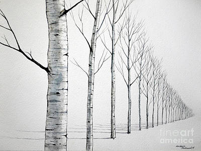 Row Of Birch Trees In The Snow Art Print