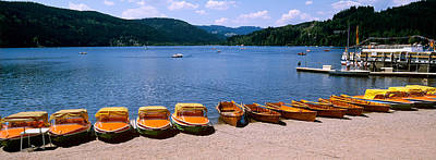In A Row Photograph - Row Of Boats In A Dock, Titisee, Black by Panoramic Images