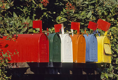 Row Of Colorful Mailboxes Art Print by David Litschel