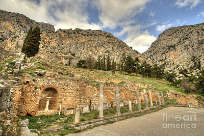 Photograph - Row Of Columns At Delphi by Deborah Smolinske