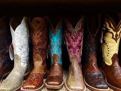Row Of Cowboy Boots On Shelf Art Print by Maggie Holguin / Eyeem