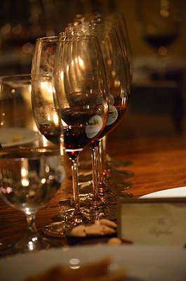 Photograph - Row Of Crystal Red Wine Glasses by Deprise Brescia