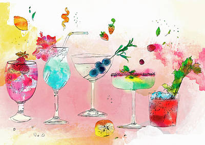 Row Of Different Tropical Alcoholic Art Print