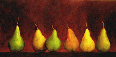 Row Of Pears Print by Marie-louise McHugh