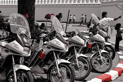 Cop Digital Art - Row Of Police Bikes Bw by Linda Phelps