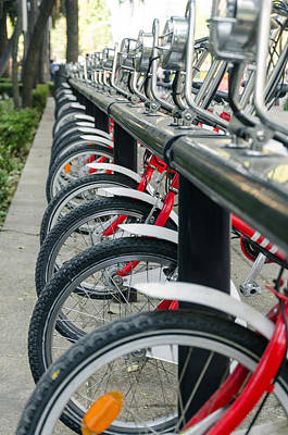 Metal Tires Photograph - Row Of Public Bicycles by Jess Kraft
