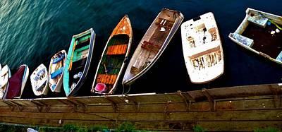 Rowboat Digital Art - Row Of Rowboats  by Barbara Snyder