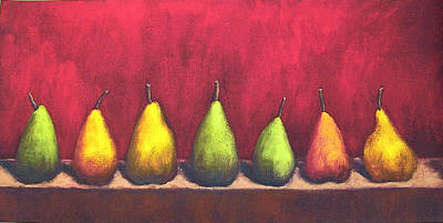 Painting - Row Of Seven Pears by Marie-louise McHugh