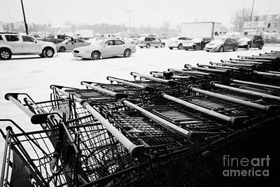 row of shopping carts with snow covered supermarket parking lot Saskatoon Saskatchewan Canada Print by Joe Fox