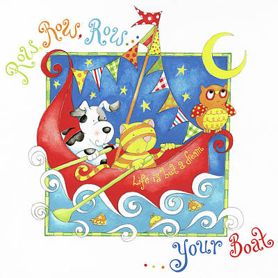 Nursery Rhyme Painting - Row Your Boat by P.s. Art Studios