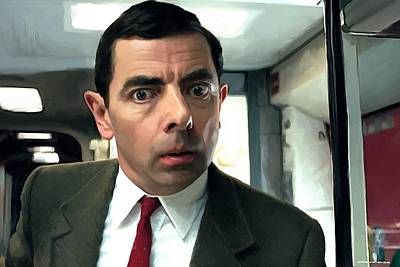 Digital Art - Rowan Atkinson As Mr. Bean Large Size Portrait by Gabriel T Toro