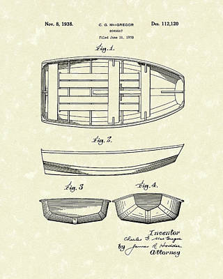 Small Boat Drawing - Rowboat 1938 Patent Art by Prior Art Design
