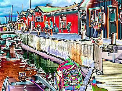 Adventure Rowing Boat Crew Takes A Midday Heat Break At Jetty Art Print