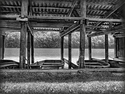Photograph - Rowboat Parking - B/w by Hanny Heim