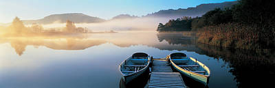 Water Vessels Photograph - Rowboats At The Lakeside, English Lake by Panoramic Images