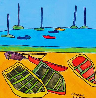 Drucker Painting - Rowboats by Artists With Autism Inc